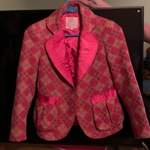 Rebecca Taylor Pink and tan knitted blazer